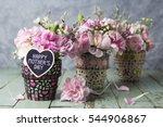 carnation in mosaic flower pot... | Shutterstock . vector #544906867