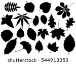 tree leaves set silhouettes... | Shutterstock .eps vector #544913353