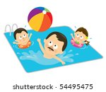 jpeg father and kids playing in ... | Shutterstock . vector #54495475
