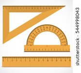 wooden ruler instruments on a... | Shutterstock .eps vector #544998043