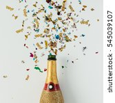 golden champagne party bottle... | Shutterstock . vector #545039107