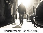 man walking alone through the... | Shutterstock . vector #545070307