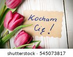 polish word love and bouquet of ... | Shutterstock . vector #545073817