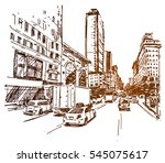 new york 5th ave sketch | Shutterstock .eps vector #545075617