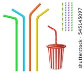 Straw For Beverage. Striped An...