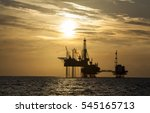silhouette of offshore jack up... | Shutterstock . vector #545165713