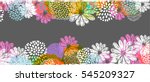 Stock vector vector border with lemon white blue pink stylized doodle flowers and place for your text on gray 545209327