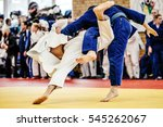 fight two judoka athlete on... | Shutterstock . vector #545262067