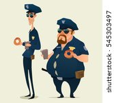 Police Officers With Donuts An...
