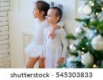 two young ballet dancer hug... | Shutterstock . vector #545303833