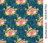 seamless floral pattern with... | Shutterstock .eps vector #545319703
