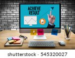 Small photo of Results compass , businessman ACHIEVE RESULT , and Expectations , Get Results , arrows in business diagram
