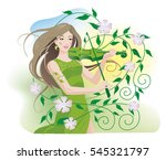 young pretty woman playing... | Shutterstock .eps vector #545321797