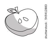 slice of apple fruit in heart... | Shutterstock .eps vector #545412883