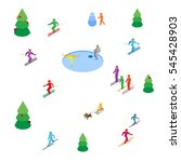 lot of colored people skiing... | Shutterstock .eps vector #545428903