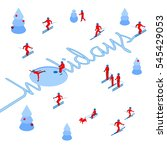 skier has left a trace in the... | Shutterstock .eps vector #545429053