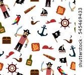 cute pirate seamless pattern.... | Shutterstock . vector #545469433