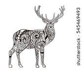 deer. hand drawn deer for adult ... | Shutterstock . vector #545469493
