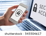 cyber security symbol with icon ... | Shutterstock . vector #545504617
