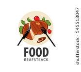 steak dish  logo  fork  knife....   Shutterstock .eps vector #545513047