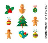 christmas symbols set isolated... | Shutterstock . vector #545549557