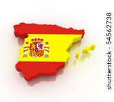 Map Of Spain Filled With Flag....