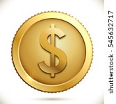 gold coin with dollar sign on... | Shutterstock .eps vector #545632717
