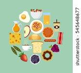 breakfast food on circle shape... | Shutterstock .eps vector #545648677