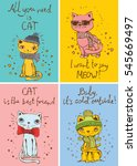 vector card with cute cat and... | Shutterstock .eps vector #545669497