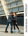 beautiful roller skater couple...   Shutterstock . vector #545705167