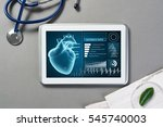 white tablet pc and doctor... | Shutterstock . vector #545740003