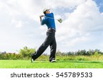 asian golfer hit a golf ball by ... | Shutterstock . vector #545789533