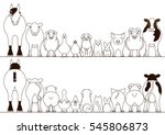 Stock vector farm animals border set front view and rear view line art 545806873