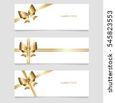 cards with gold ribbons. vector ... | Shutterstock .eps vector #545823553