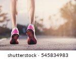 runner feet running on running... | Shutterstock . vector #545834983