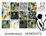set of abstract floral seamless ... | Shutterstock .eps vector #545855473