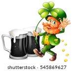 leprechaun and black beer...   Shutterstock .eps vector #545869627