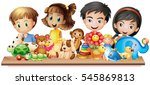 many children looking at cute... | Shutterstock .eps vector #545869813