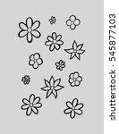 set of flower doodles. sketchy... | Shutterstock .eps vector #545877103