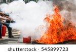 practice a fire drill outdoor | Shutterstock . vector #545899723