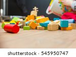 small boy playing with wooden... | Shutterstock . vector #545950747
