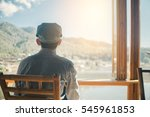 alone traveller sitting at cafe ... | Shutterstock . vector #545961853