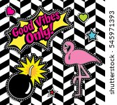 pop art fashion chic patches ... | Shutterstock .eps vector #545971393