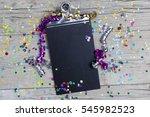 carnival confetti on wood... | Shutterstock . vector #545982523