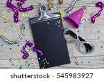 carnival confetti on wood... | Shutterstock . vector #545983927