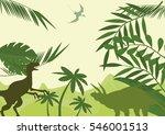 prehistoric world dinosaurs age ... | Shutterstock .eps vector #546001513