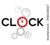 word 'clock' with big gear...