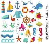 nautical and marine flat style... | Shutterstock .eps vector #546029743