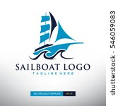 sailboat logo template. vector... | Shutterstock .eps vector #546059083