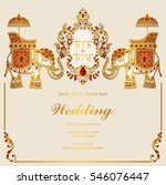 Indian wedding card free vector art 18986 free downloads indian wedding invitation card templates with gold elephant patterned and crystals on paper color stopboris Image collections